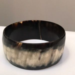 Black & White Cow Horn Bangle Cuff